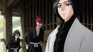Renj and Rukia bow to Unohana