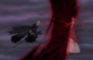 Ichigo releases a Getsuga directly at Muramasa