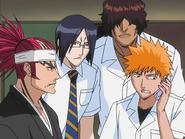 O65 Renji, Sado, Uryu i Ichigo rozmawiają z porywaczem