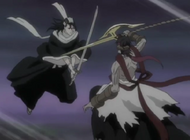 Byakuya i Kouga krzyżują miecze