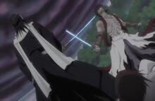 Byakuya bloque l'attaque de Kōga