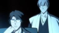 Aizen and Gin watch Ichigo battle Byakuya