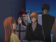 O65 Kurodo tłumaczy Renjiemu, Ichigo, Sado i Uryu co robiła zeszłej nocy