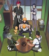 O66 Ichigo w obecności Uryu, Renjiego i Kona powierza swoje ciało Kisuke i Tessaiowi