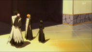Ichigo, Kenpachi and Rukia watch the procession leave