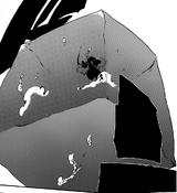 Kenpachi atrapado en un cubo de agua