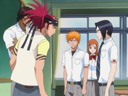 O67 Uryu przedstawia Orihime, Ichigo, Kurodo i Renjiemu swój plan