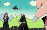 Ikkaku laughs at Omaeda's predicament