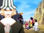 O20 Kisuke dumny z rekacji Orihime, Uryu i Sado na wyciągnięcie duszy Ichigo z jego ciała