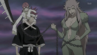 Renji arrives in the Human World alongside Zabimaru