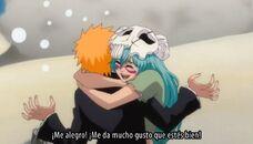 Nelliel abraza fuertemente a Ichigo