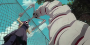 The Hollow pins Haruko to the fence