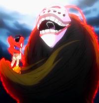 O9 Grand Fisher trzymający Ichigo i Karin potraktowany Geki