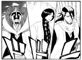 Kurotsuchi, Unohana y Byakuya