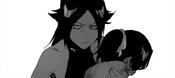 Yoruichi sostiene a Yushiro