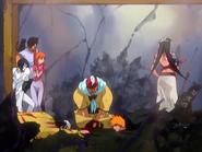 O23 Yoruichi, Sado, Orihime, Uryu, Ichigo, Koganehiko i Ganju z przerażeniem oczekują rozkazów Kukaku