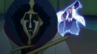 Mayuri attacked from behind by Reigai-Komamura