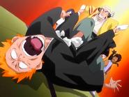 O23 Ganju znęca się nad Ichigo na oczach Sado, Uryu, Orihime i Yoruichi