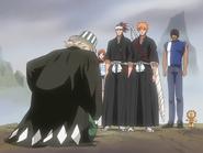 O68 Kisuke prosi Ichigo w obecności Kona, Sado, Renjiego i Orihime