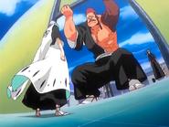 O22 Ichimaru pojawia się przed Ichigo, Jidanbo i Yoruichi