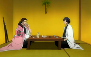 Amagai drinks with Kyoraku