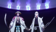Kyoraku and Ukitake surrounded by enhanced Reigai