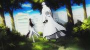 Aizen y gin llegan a karakura