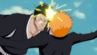Isshin attacks Ichigo