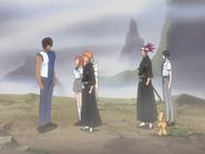 O68 Ichigo, Orihime, Renji, Uryu i Kon przybiegają do uwolnionego Sado