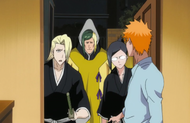 Izuru, Inaba and Nanao arrives at Kurosaki's house