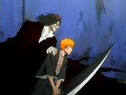 Ichigo lucha junto a Zangetsu