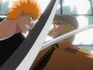 Ichigo fighting Shinji
