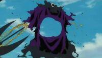 Barraggan siendo desintegrado por su propio poder