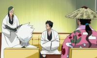 Inaba informando sobre el Dangai con Akon, Hitsugaya y Shunsui