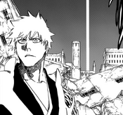 Un pilar de luz aparece detras de Ichigo