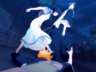O17 Rukia kopie rękę Ichigo trzymającą nogę Byakuyi