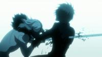 Ichigo recibiendo a Tensa zangetsu