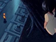 O9 Rukia chowająca się za drzewem przed Ichigo