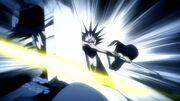 Wabisuke es cortado por Kenpachi