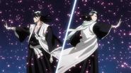 Byakuya i jego Reigai atakują przy pomocy Bankai