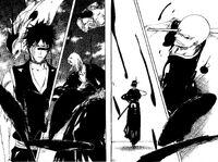 Yumichika, Hisagi, Kira y Ikkaku defendiendo los pilares