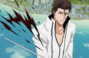 Shinji menebas Aizen