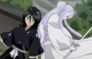 232Sode no Shirayuki appears behind Rukia