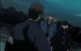 Aizen confronted by Kisuke