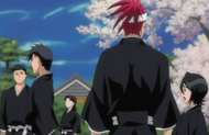 Renji and Rukia relax with the other 6th Division members