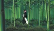Kenpachi and Yachiru walk through bamboo forest