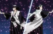 Byakuya & Reigai-Byakuya After Exchanging Attacks With Bankai