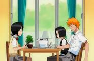 Ichigo, Rukia and Karin at the table