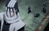 The real Byakuya and Renji arrive to save Ichigo and Rukia