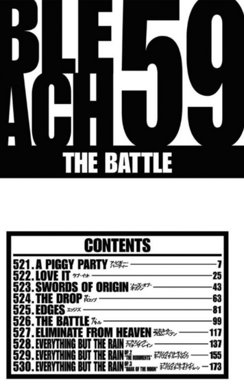 Bleach volume 59 contents